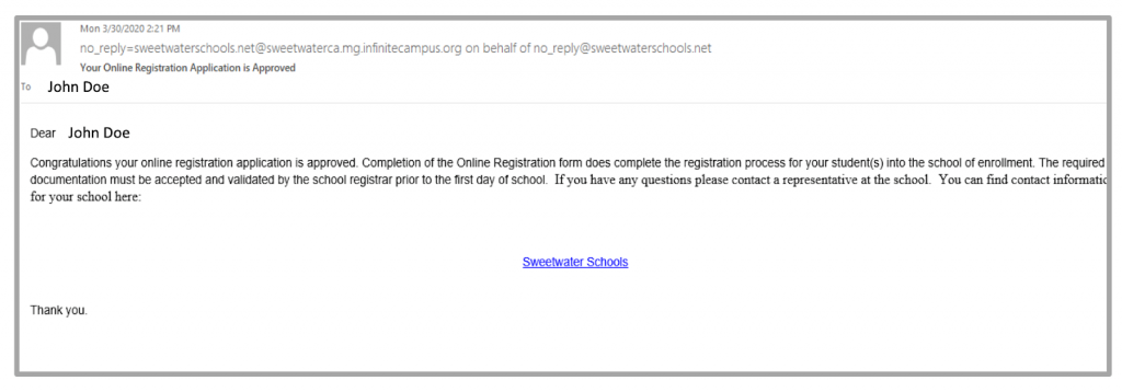 Congratulations message, your online registration has been approved